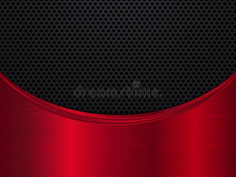 红色和黑金属背景 与波浪的金属背景 抽象向量例证 皇族释放例证