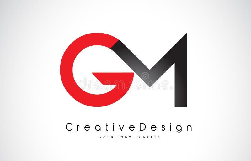 红色和黑GM G M信件商标设计 创造性的象现代信件传染媒介商标 向量例证