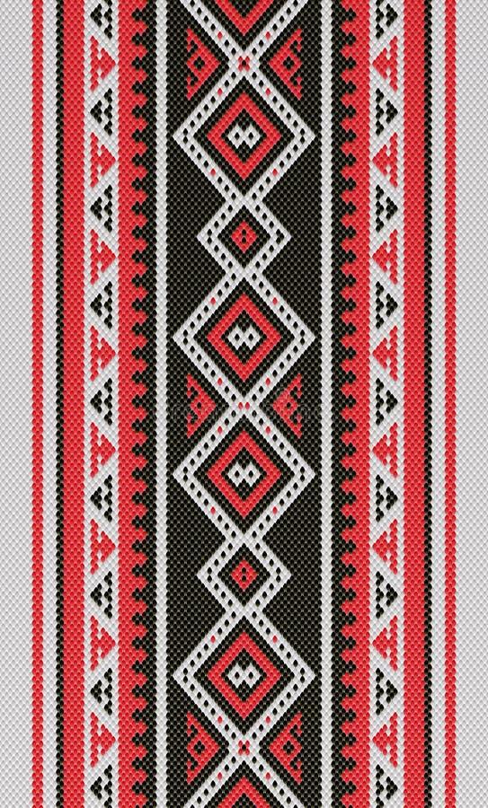 红色和黑传统伙计Sadu阿拉伯手编织的样式 皇族释放例证