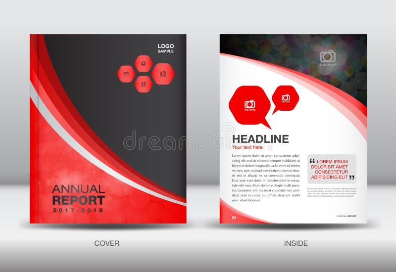 红色和黑年终报告模板盖子设计编目 库存例证
