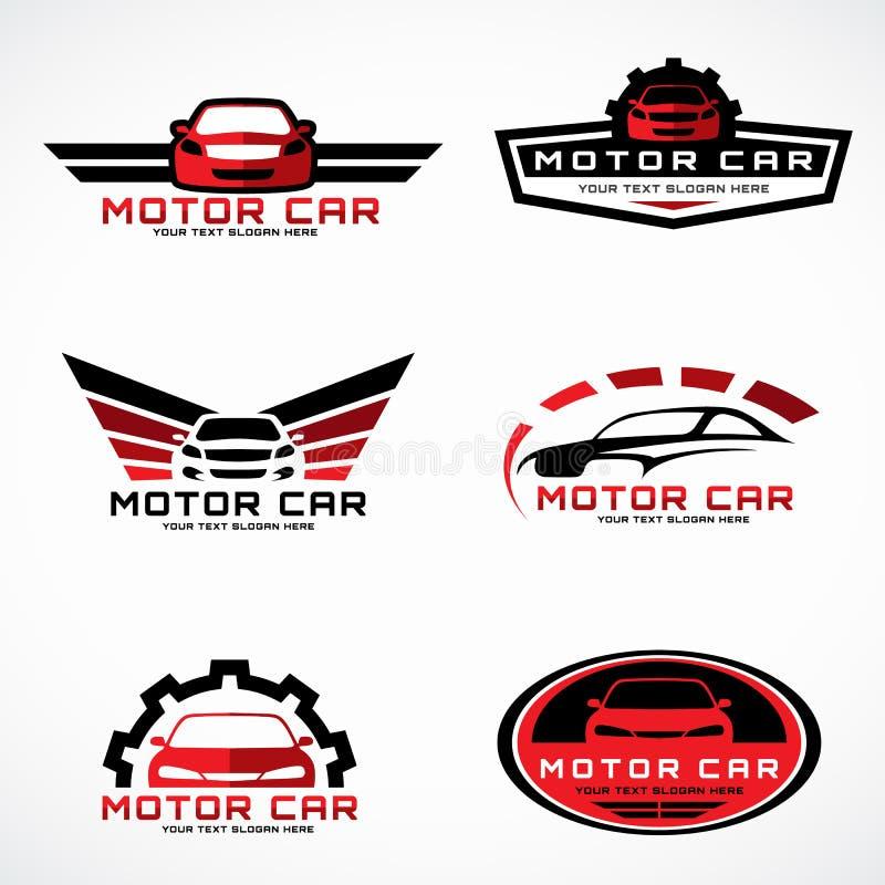 红色和黑汽车飞过企业和服务传染媒介布景的商标 皇族释放例证