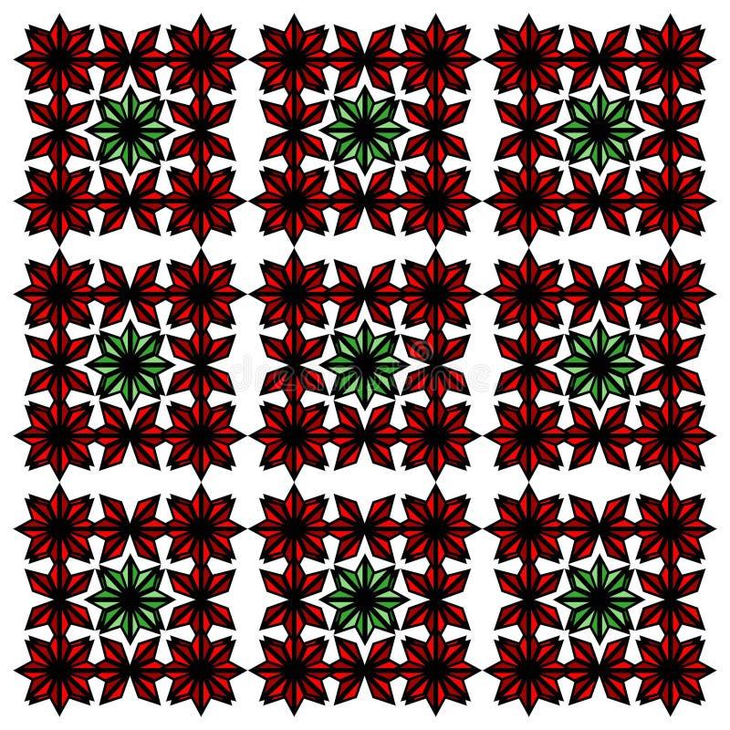 红色和绿色独特的抽象样式 库存例证