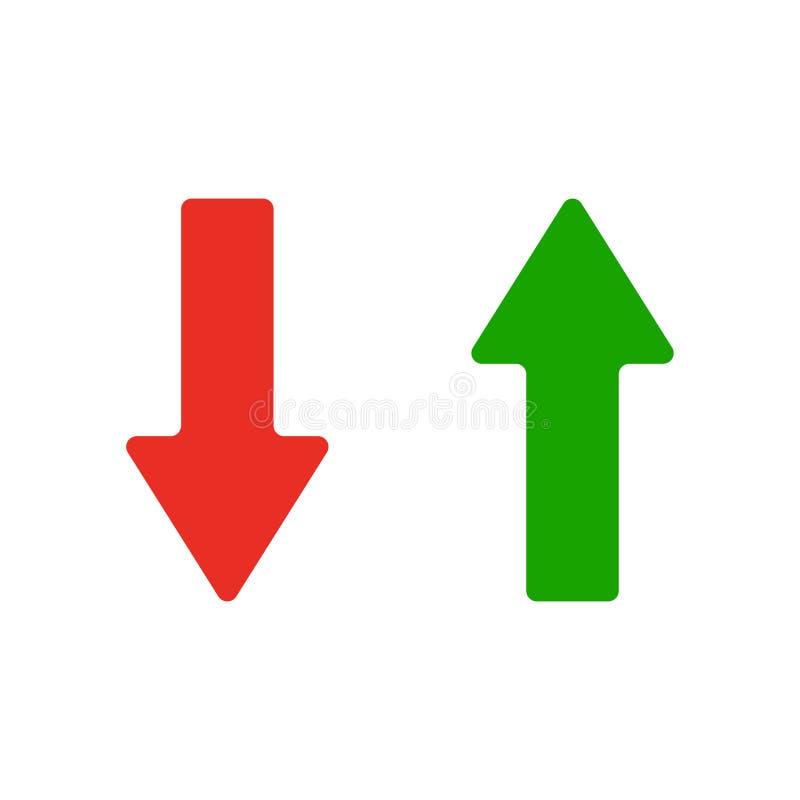 红色和绿色箭头象 在空白背景查出的向量例证 库存例证