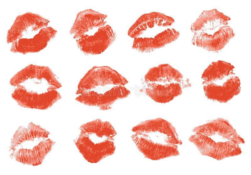 红色唇膏亲吻 皇族释放例证