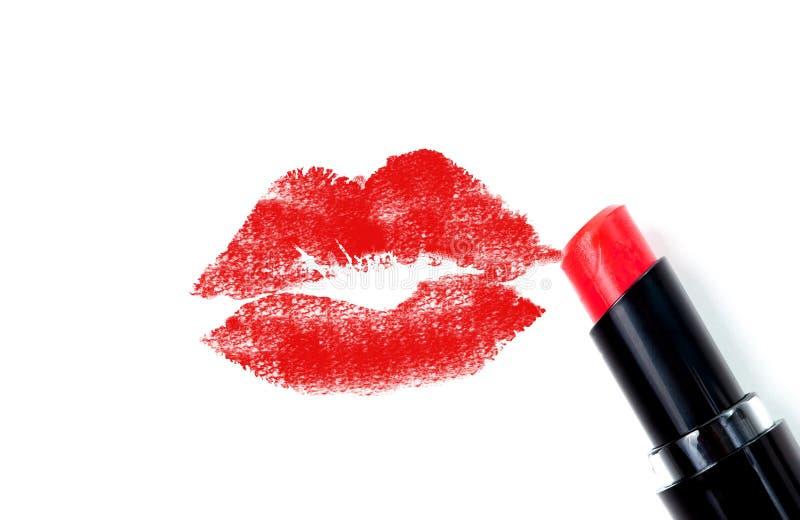 红色唇膏亲吻 免版税库存图片