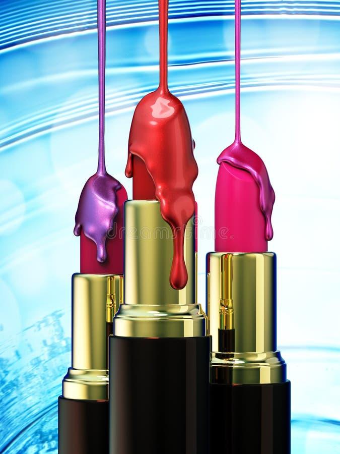 红色唇膏和多彩多姿的小滴指甲油在蓝色bokeh背景 库存例证