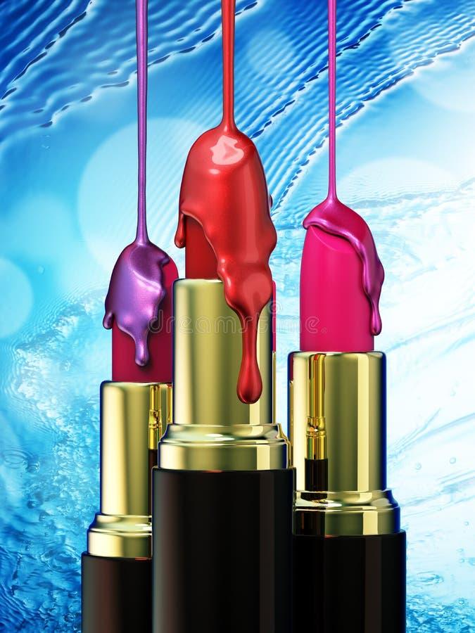 红色唇膏和多彩多姿的小滴指甲油在蓝色bokeh背景 皇族释放例证