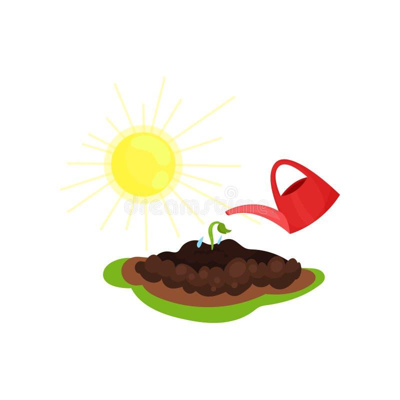 红色喷壶、年轻生长植物和明亮的黄色太阳平的传染媒介象  从事园艺和耕种题材 向量例证