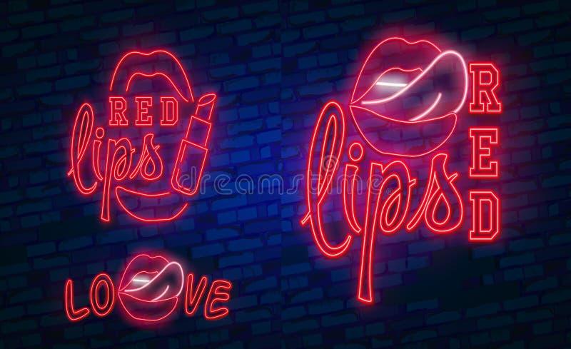 红色嘴唇霓虹灯广告,设置了时尚霓虹灯广告 明亮的牌,轻的横幅 背景容易的图标替换影子透明向量 库存例证