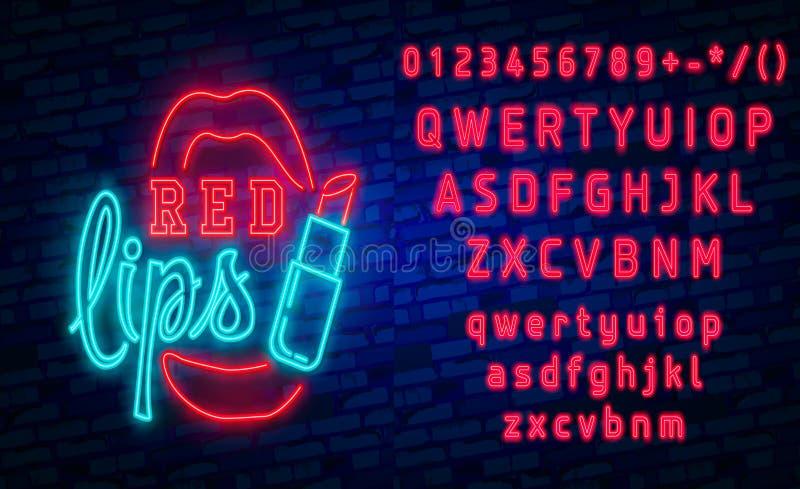 红色嘴唇霓虹灯广告,设置了时尚霓虹灯广告 明亮的牌,轻的横幅 背景容易的图标替换影子透明向量 向量例证