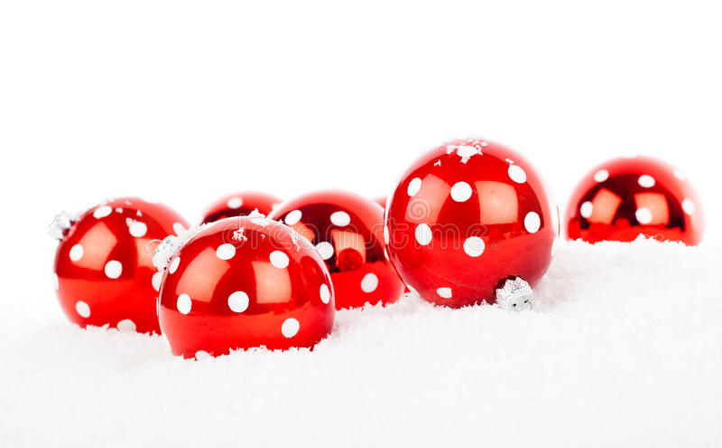 红色圆点圣诞节中看不中用的物品 免版税库存图片