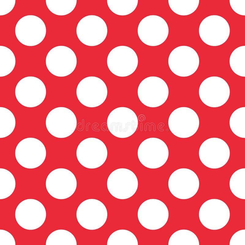 红色圆点无缝的样式 对格子花呢披肩,桌布,衣裳,衬衣,礼服,纸,卧具,毯子,被子和 向量例证