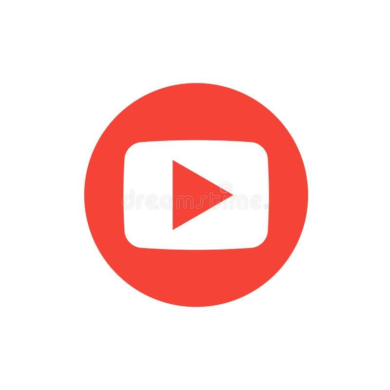 红色圆的按钮图象播放机社交媒介 向量例证