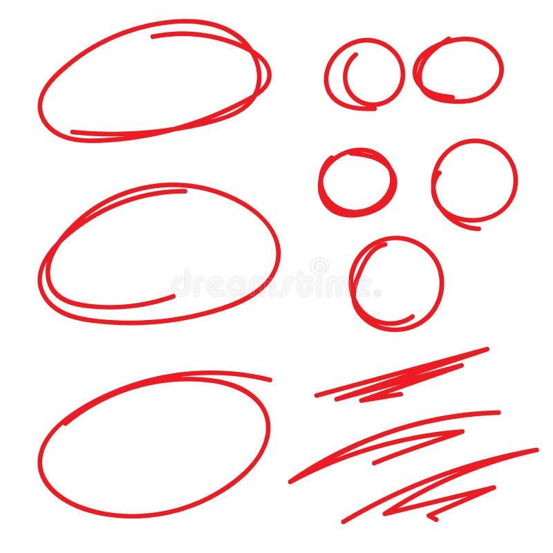 红色圈子分级的标记用Swoosh感受-标记纸 库存例证