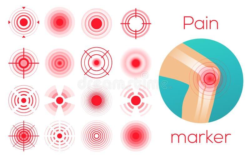红色圈子,痛苦地方标志,疼痛地方化标记,酸疼的地方 库存例证