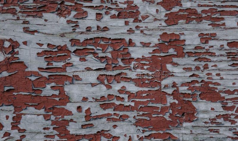 红色土气被索还的木墙壁背景 免版税库存照片