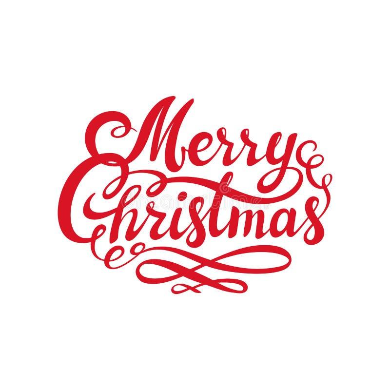 红色圣诞快乐文本 书法书信设计卡片模板 假日问候的创造性的印刷术 可用 库存例证