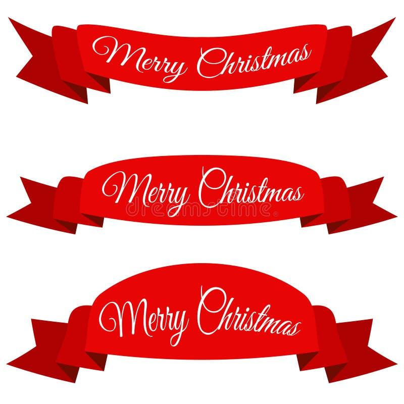 红色圣诞快乐横幅 套与文本的丝带 向量例证