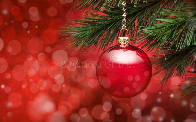 红色圣诞树场面背景 免版税图库摄影