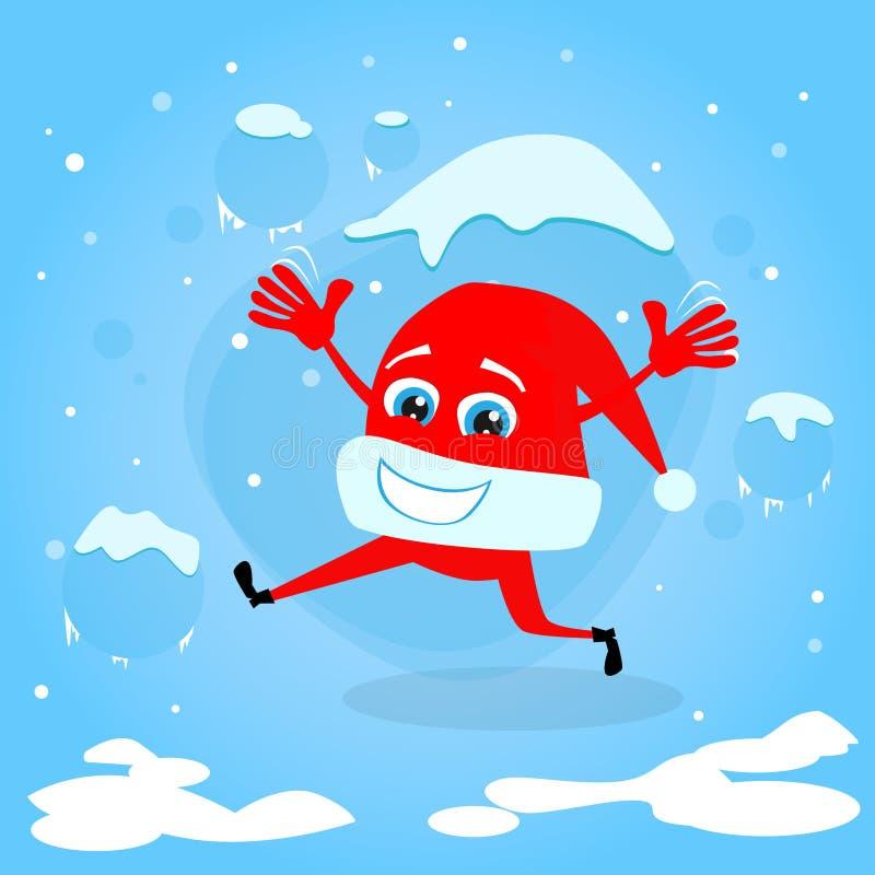 Download 红色圣诞老人帽子圣诞节漫画人物概念 向量例证. 插画 包括有 平面, 背包, 纸板, 动画片, 徽标, 节假日 - 62525774