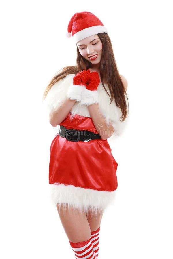 红色圣诞老人帽子笑 免版税库存照片