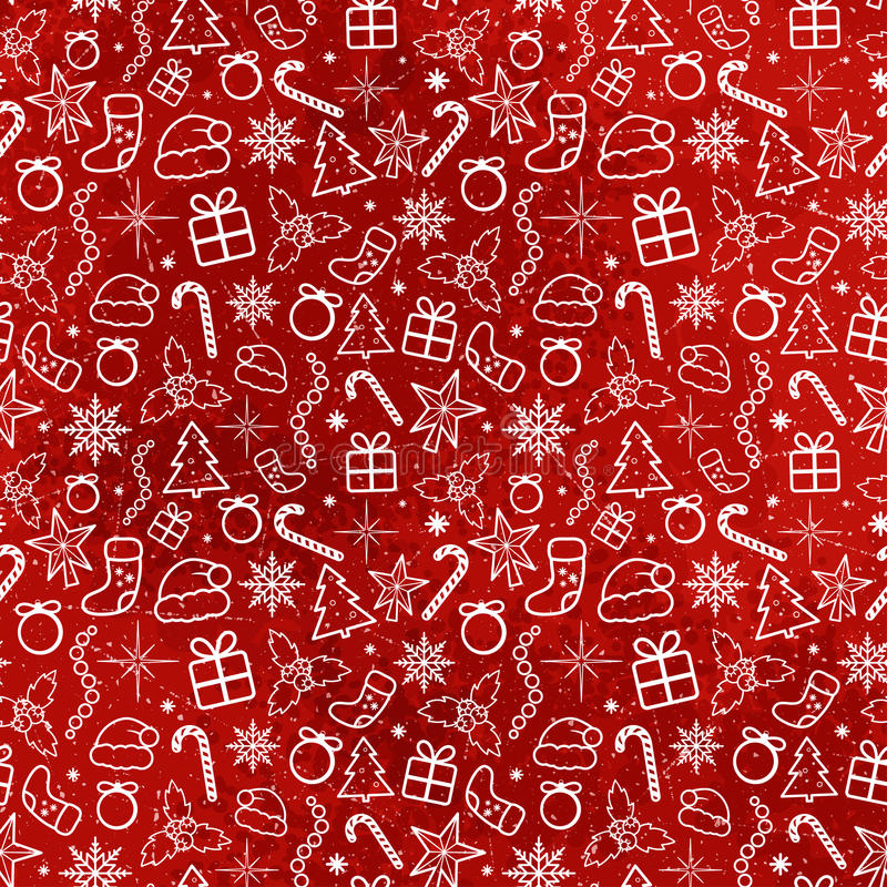 红色圣诞节无缝的样式 库存图片