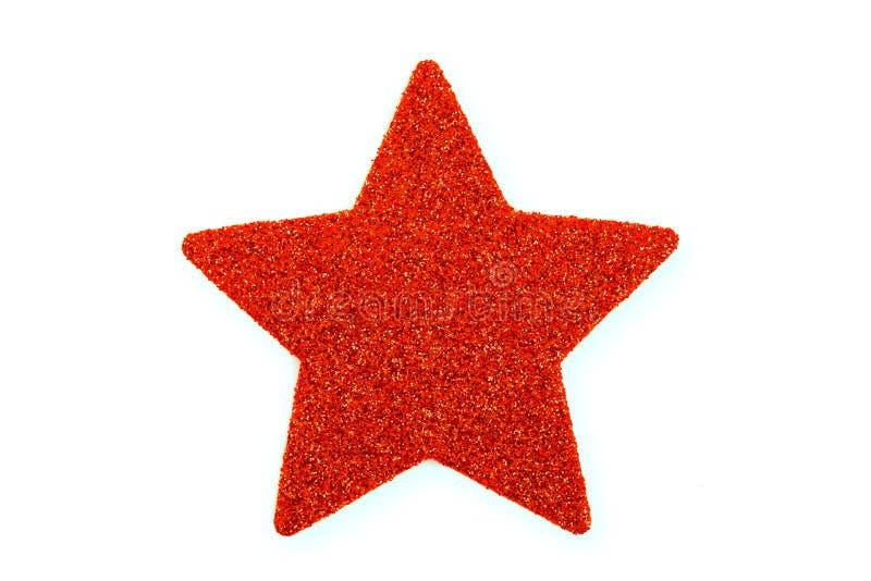 红色圣诞节星,在白色隔绝的圣诞节装饰品 免版税库存照片
