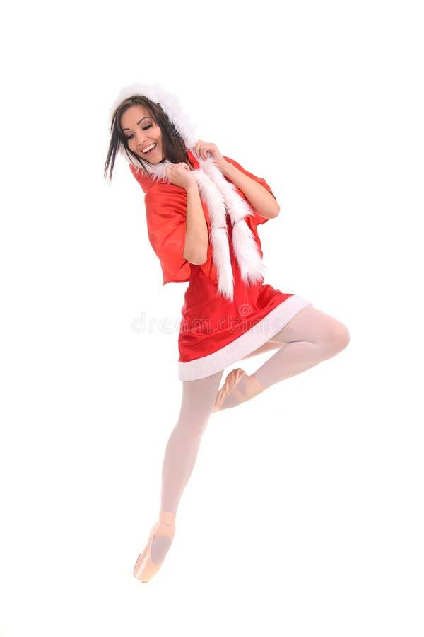 红色圣诞节样式的芭蕾女性舞蹈家 库存照片