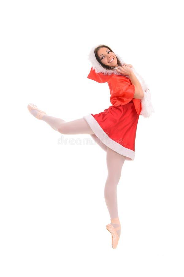 红色圣诞节样式的芭蕾女性舞蹈家 免版税库存图片