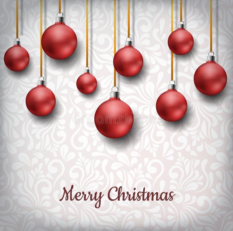 红色圣诞节球在金黄丝带垂悬了,在花卉样式装饰背景前面 向量例证