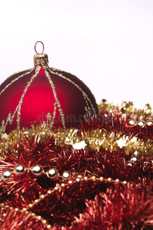 红色圣诞节的装饰 免版税库存图片
