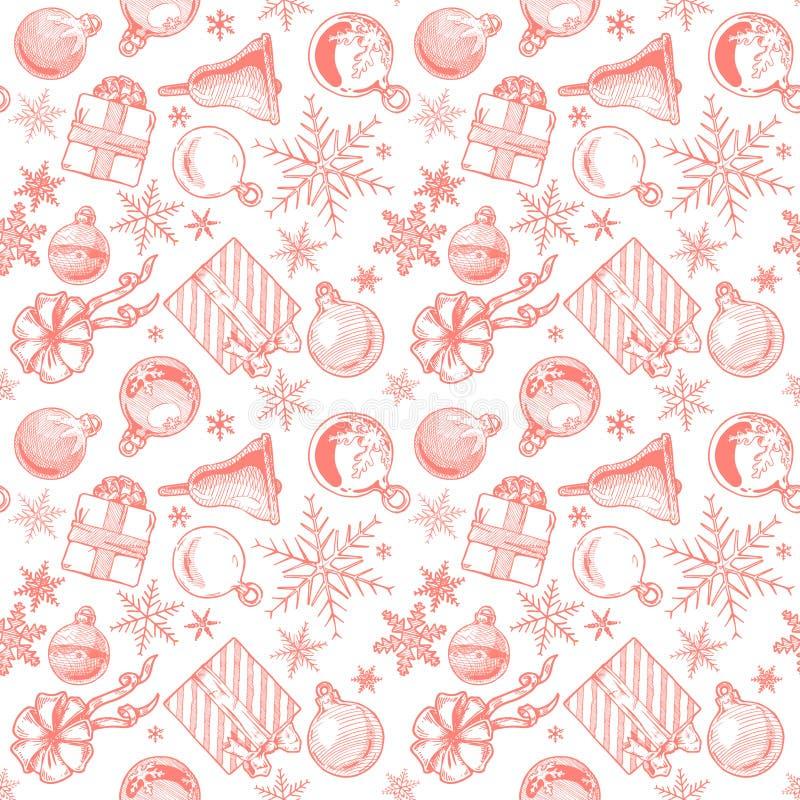 红色圣诞节背景,无缝的盖瓦 库存例证