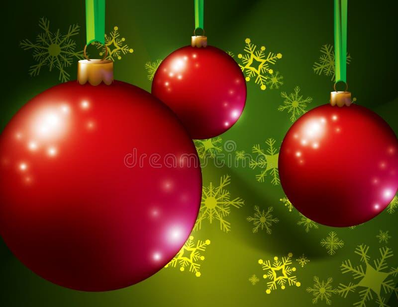 红色圣诞节装饰品   库存例证