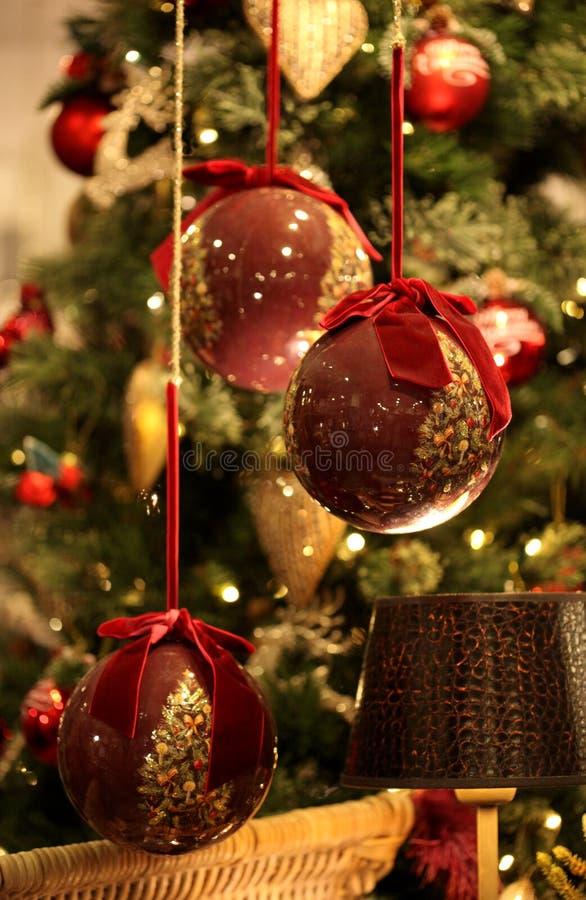 红色圣诞节装饰 库存照片