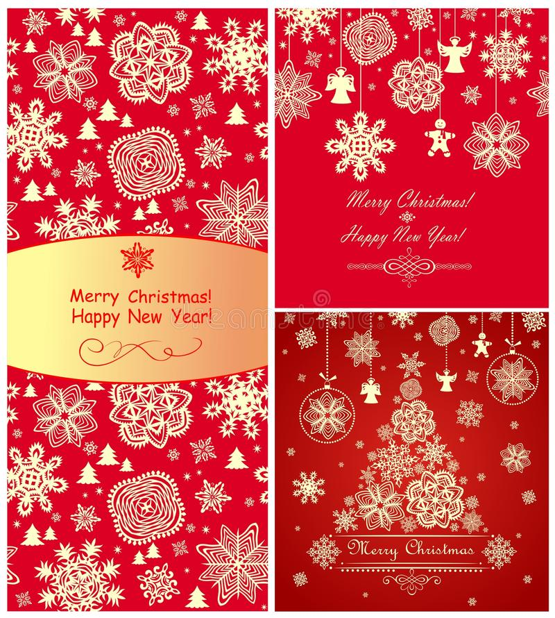 红色圣诞节问候 库存例证