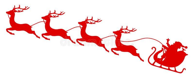红色圣诞节雪橇圣诞老人和四头飞行的驯鹿 库存例证