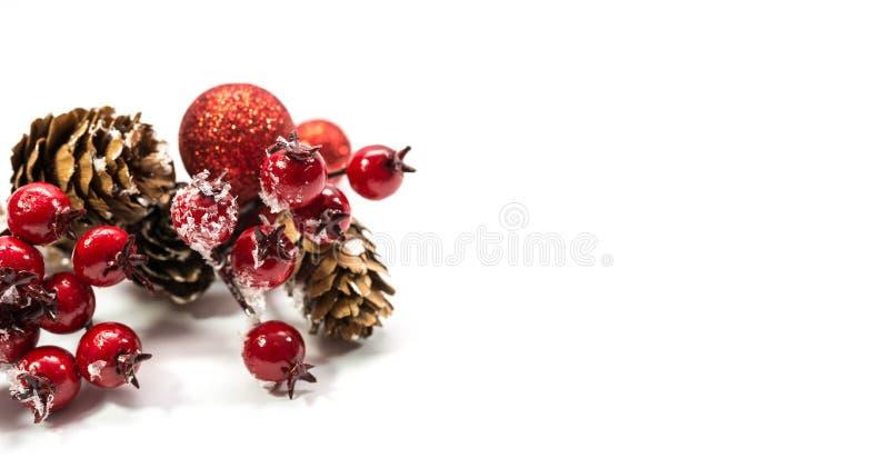 红色圣诞装饰,杉木锥体,冷冻野玫瑰果,在白色背景隔绝的红色球 库存照片
