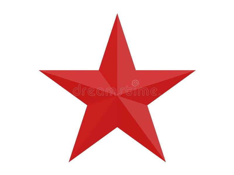红色在与在白色背景3d翻译隔绝的10边的星上雕琢平面 库存例证