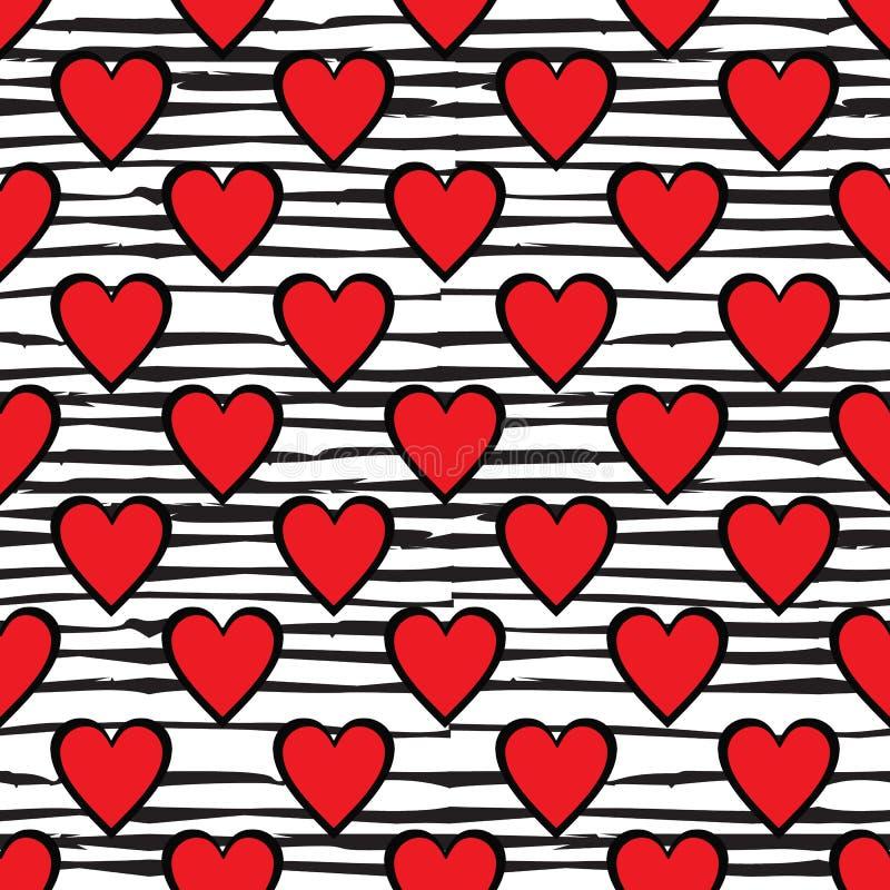 红色在乱画线背景的心脏无缝的样式 皇族释放例证