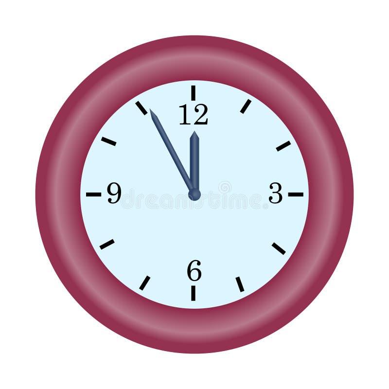 红色在五个到十二个小时简单的传染媒介象的时钟分针 向量例证