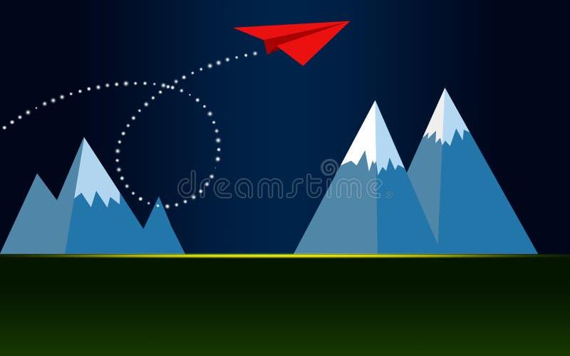 红色在山的纸平面飞行 库存例证