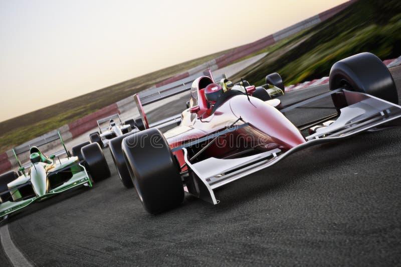 红色在带领与行动迷离的轨道的赛车关闭在最前面的视图组装 向量例证