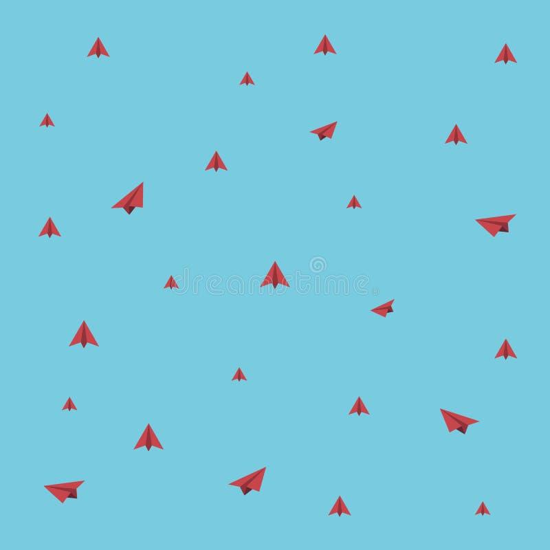 红色在浅兰的背景附近的纸平面飞行 皇族释放例证