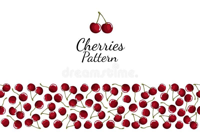 红色在白色背景的樱桃莓果无缝的样式 向量例证