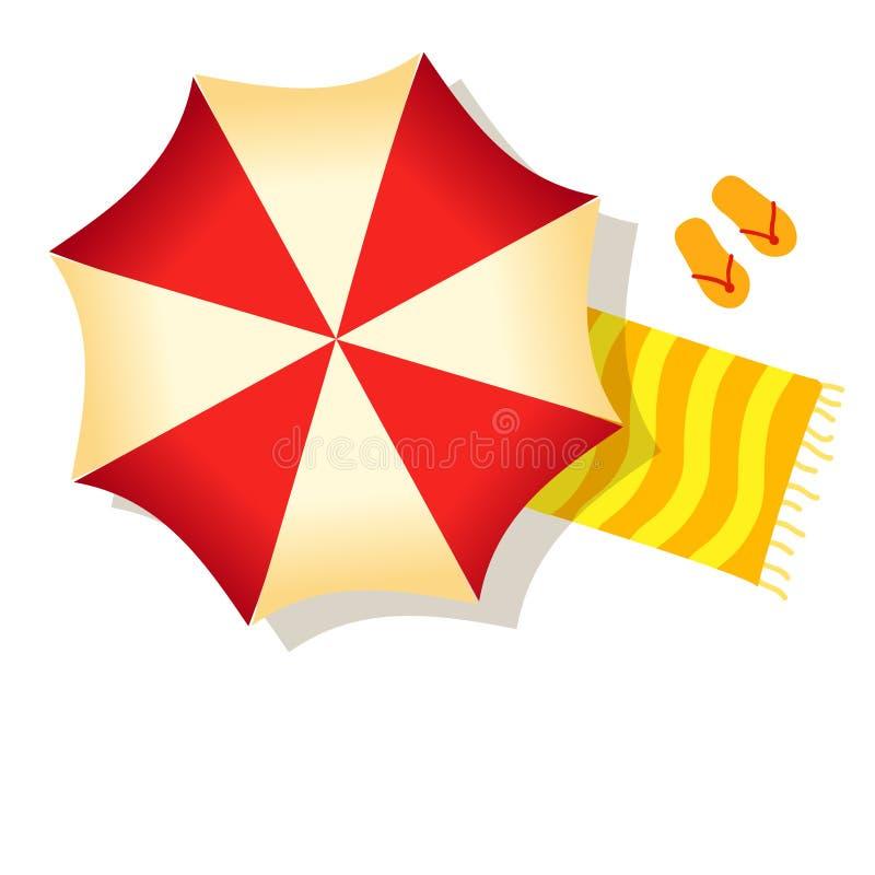 红色在白色背景隔绝的沙滩伞、毛巾和拖鞋 库存例证