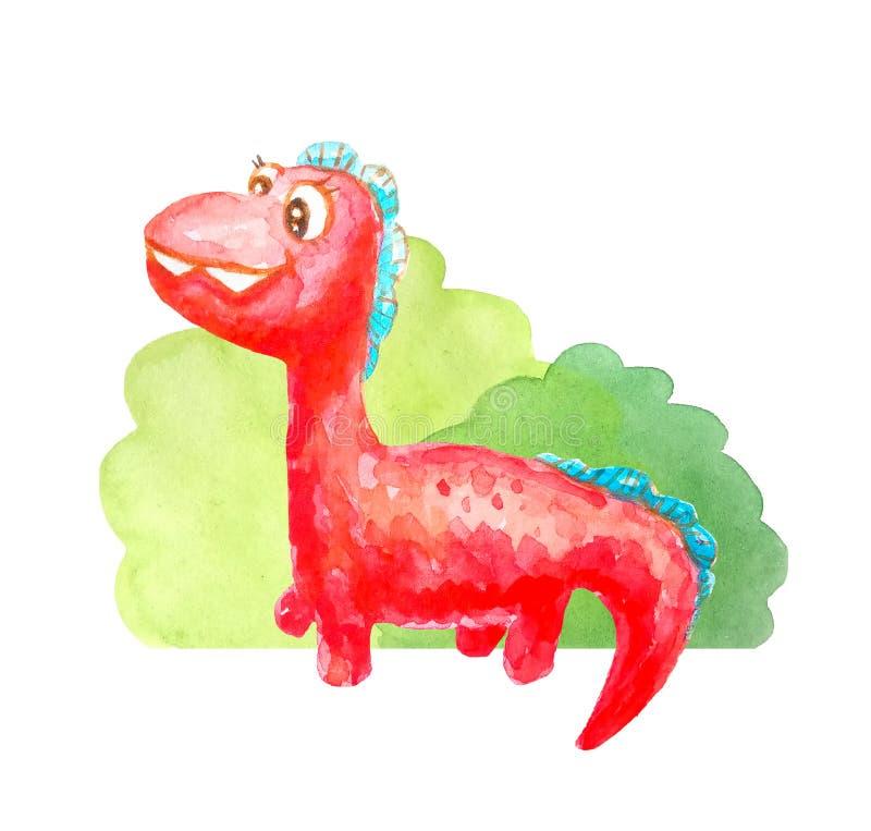 红色在白色背景隔绝的灌木附近的种类愉快的恐龙 库存例证