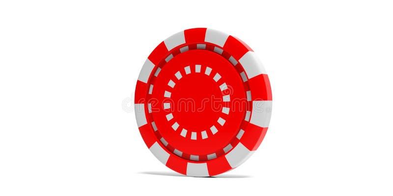 红色在白色背景隔绝的纸牌筹码 3d例证 库存例证