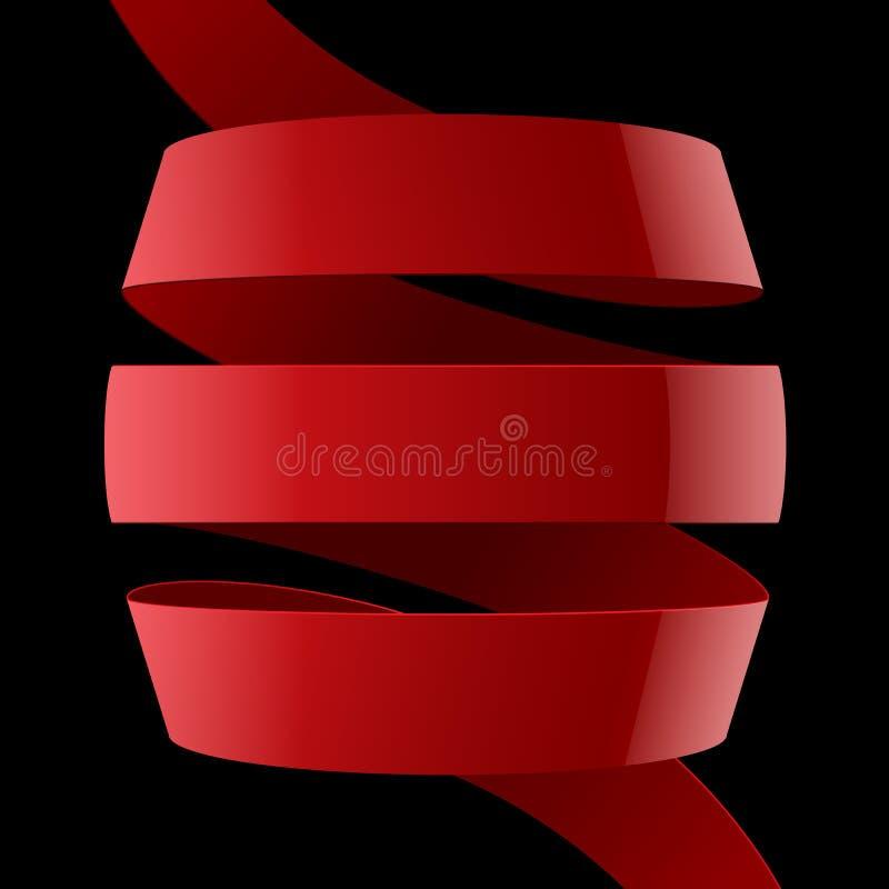 红色在黑色的织品光滑的弯曲的丝带 皇族释放例证