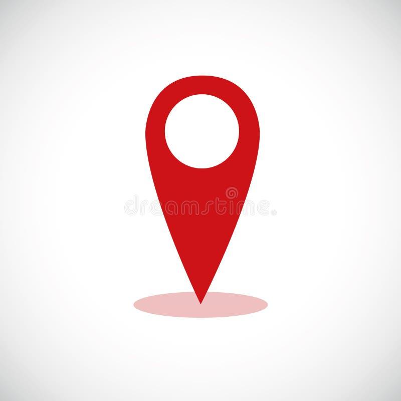 红色地图尖地点别针象标志旗子标志 向量例证