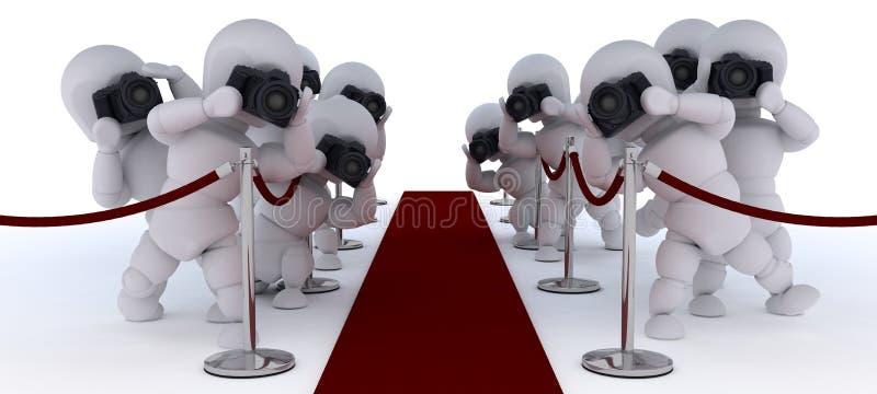 红色地毯的无固定职业的摄影师 库存例证